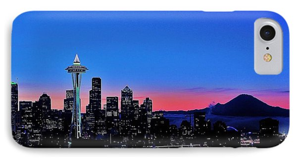 Crescent Moon Over Seattle IPhone Case by Benjamin Yeager