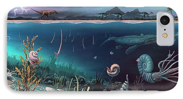 Cretaceous Land And Marine Life IPhone Case