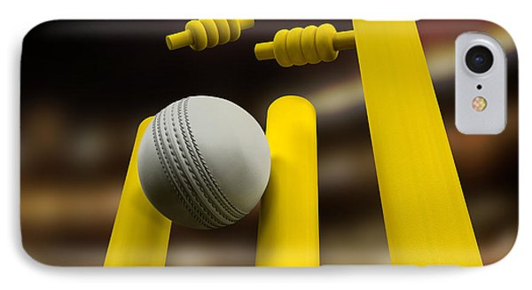 Cricket Ball Hitting Wickets Night IPhone Case by Allan Swart