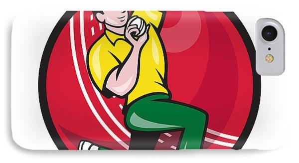 Cricket Fast Bowler Bowling Ball Side Phone Case by Aloysius Patrimonio