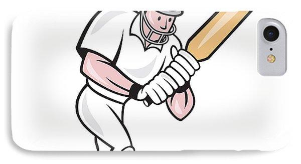 Cricket Player Batsman Batting Cartoon Phone Case by Aloysius Patrimonio