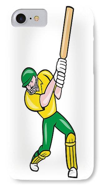 Cricket Player Batsman Batting Front Cartoon Isolated Phone Case by Aloysius Patrimonio