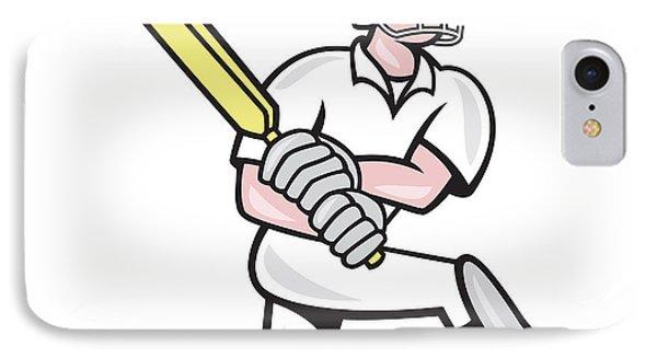 Cricket Player Batsman Batting Kneel Cartoon Phone Case by Aloysius Patrimonio
