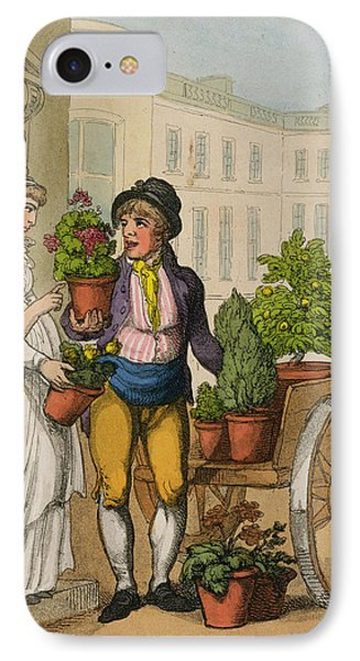 Cries Of London The Garden Pot Seller IPhone Case by Thomas Rowlandson