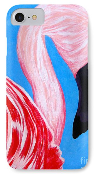 IPhone Case featuring the painting Crimson Flamingo by Anita Lewis