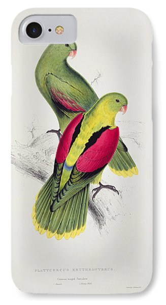 Parakeet iPhone 7 Case - Crimson Winged Parakeet by Edward Lear