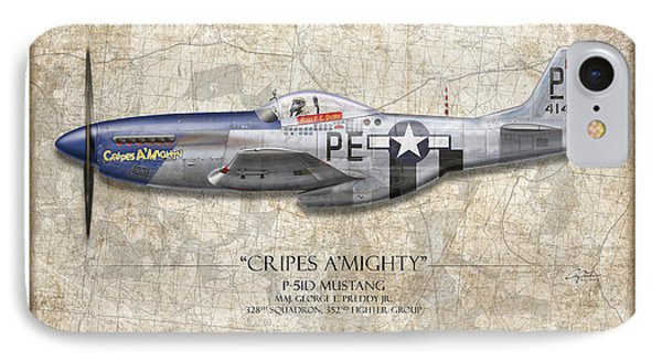 Cripes A Mighty P-51 Mustang - Map Background Phone Case by Craig Tinder