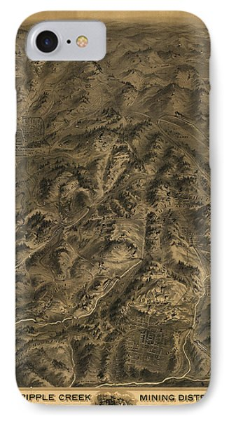 Antique Map - Cripple Creek Mining District Birdseye Map - 1895 IPhone Case by Eric Glaser