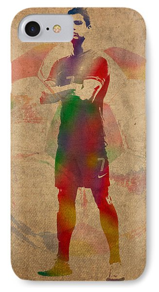 Cristiano Ronaldo Soccer Football Player Portugal Real Madrid Watercolor Painting On Worn Canvas IPhone Case by Design Turnpike