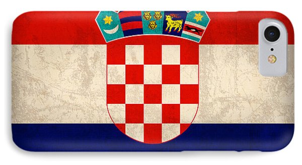 Croatia Flag Vintage Distressed Finish IPhone Case by Design Turnpike