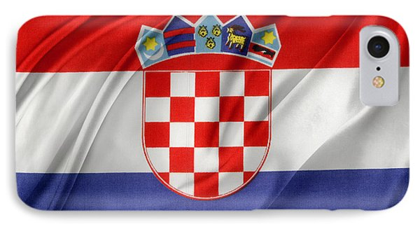 Croatian Flag IPhone Case by Les Cunliffe