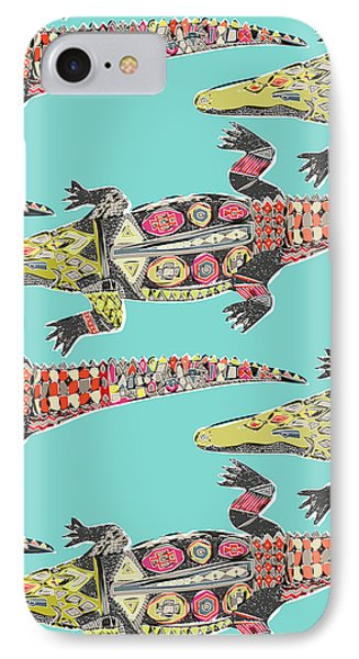 Crocodile Blue IPhone Case by Sharon Turner