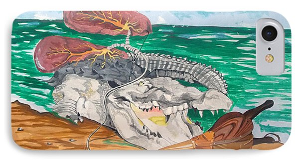 IPhone Case featuring the painting Crocodile Emphysema by Lazaro Hurtado