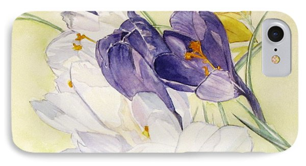 IPhone Case featuring the painting Crocus by Carol Flagg