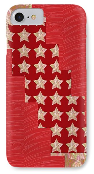 Cross Through Sparkle Stars On Red Silken Base IPhone Case by Navin Joshi