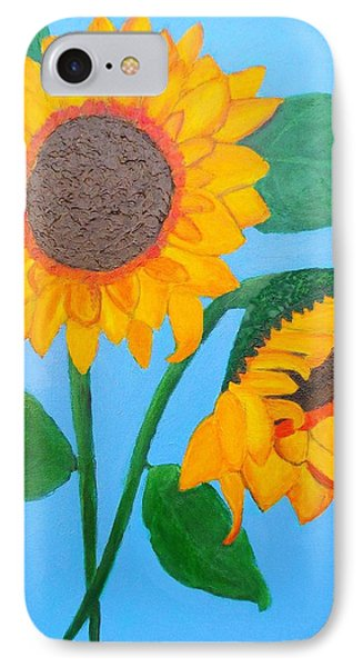 IPhone Case featuring the painting Crossed Sunflowers by Margaret Harmon