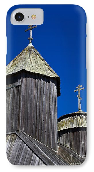Crosses On Top Of Chapel At Fort Ross State Historic Park IPhone Case by Jason O Watson