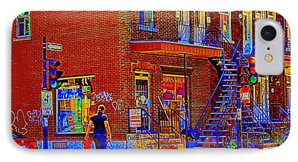 Crossing Laurier Depanneur Maboule Tabagie Biere Et Vin Montreal Street Scene Art By Carole Spandau Phone Case by Carole Spandau
