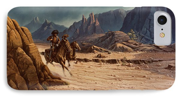 IPhone Case featuring the painting Crossing The Border by Michael Humphries
