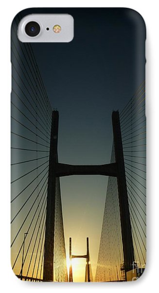 Crossing The Severn Bridge At Sunset - Cardiff - Wales IPhone Case by Vicki Spindler