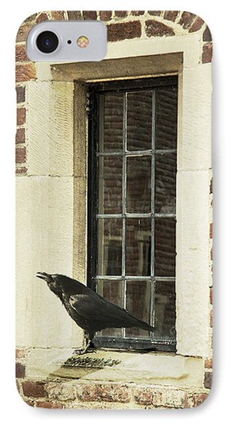 IPhone Case featuring the photograph Crow On Window Sill by Ethiriel  Photography
