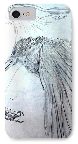 Crow Pencil Study Phone Case by Trudi Doyle
