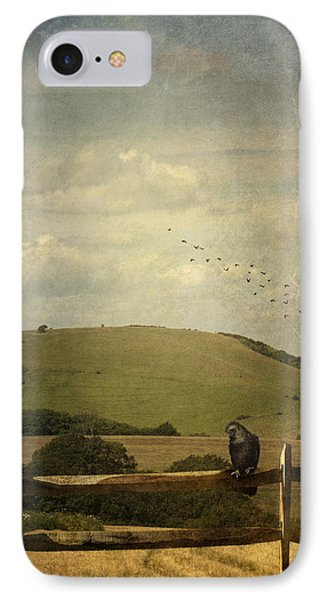 Crow Sitting On A Fence IPhone Case