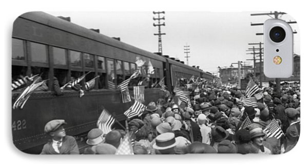 Crowds Cheer Ny Train Service IPhone Case by Underwood Archives