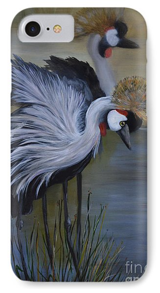 IPhone Case featuring the painting Crowned Cranes by Nancy Bradley