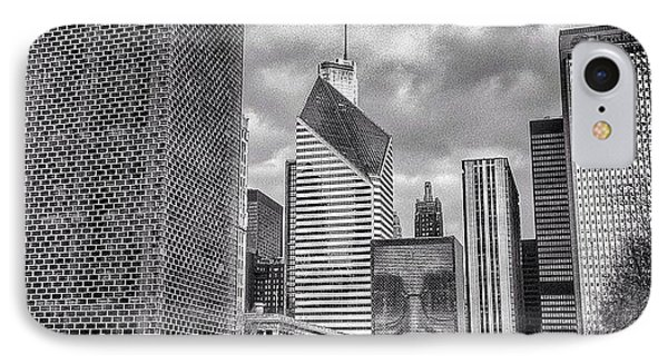 Chicago Crown Fountain Black And White Photo IPhone Case by Paul Velgos
