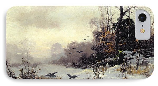 Crows In A Winter Landscape IPhone Case by Karl Kustner