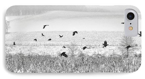 Crows In Cornfield Winter Phone Case by Dan Friend