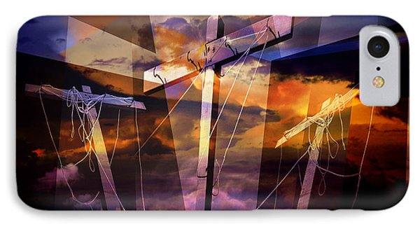 Crucifixion Crosses Composition From Clotheslines IPhone Case by Randall Nyhof
