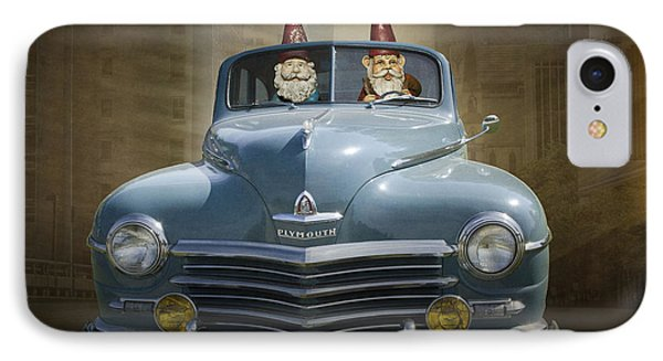 Cruising Gnomes In A Vintage Plymouth IPhone Case by Randall Nyhof
