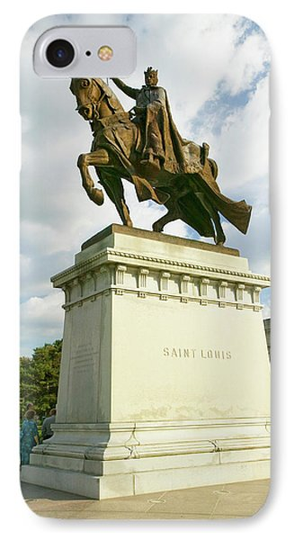Crusader King Louis Ix Statue In Front IPhone Case