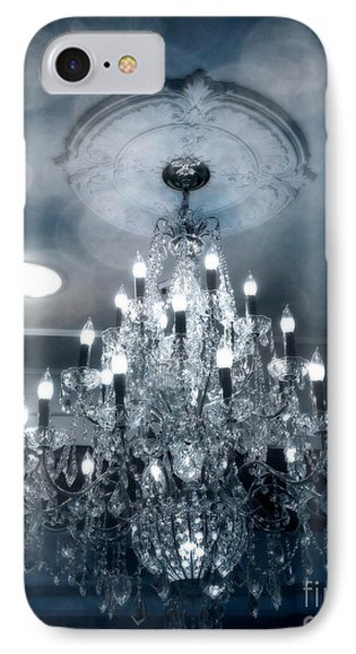 Crystal Chandelier Photo - Sparkling Twinkling Lights Elegant Romantic Blue Chandelier Photograph IPhone Case by Kathy Fornal