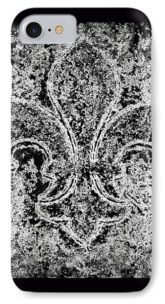 Crystal Ice Fleur De Lis On Black IPhone Case by Janine Riley