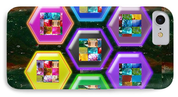 Crystal Stone Art Samples Assembled In Decorative Style Navinjoshi Signature Graphic Art IPhone Case by Navin Joshi