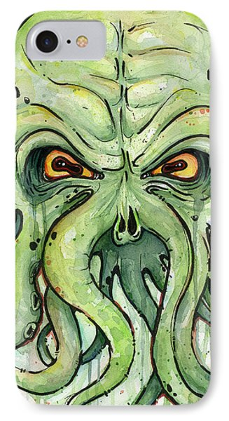Cthulhu Watercolor IPhone Case by Olga Shvartsur