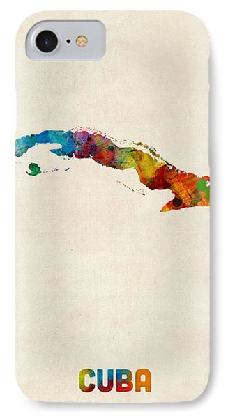 Cuba Watercolor Map IPhone Case by Michael Tompsett