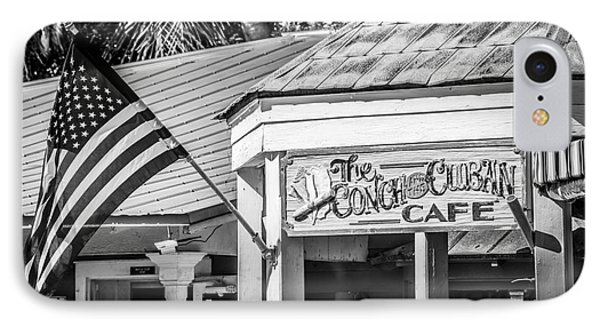 Cuban Cafe And American Flag Key West - Black And White IPhone Case by Ian Monk