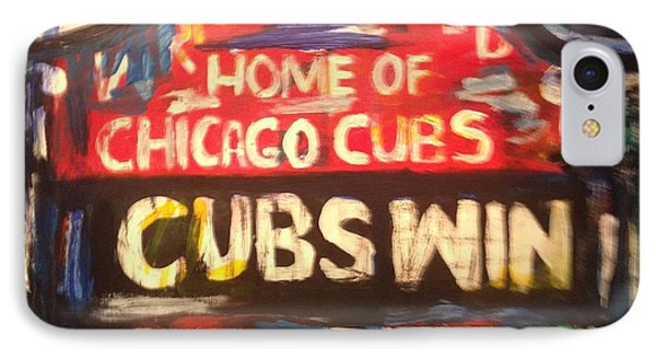 Cubs Win IPhone Case by Monica Zanetti