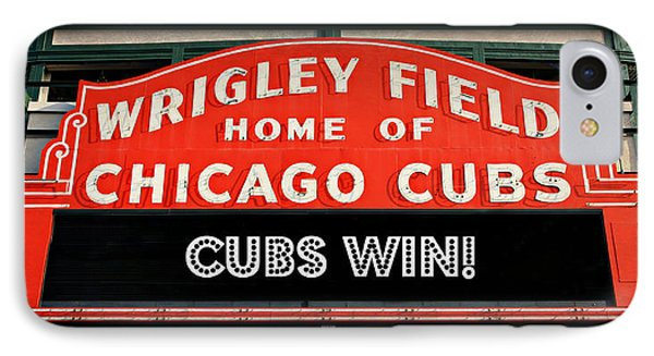 Cubs Win - Wrigley Sign IPhone Case by Stephen Stookey
