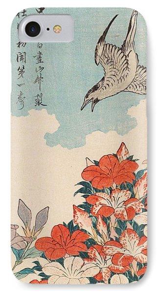 Cuckoo iPhone 7 Case - Cuckoo And Azaleas by Katsushika Hokusai