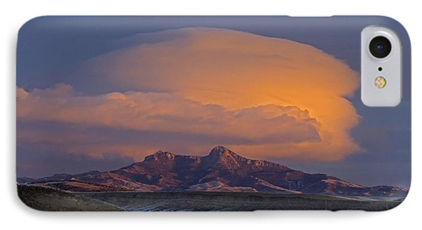 Cumulus Cloud Cap Over Heart Mountain   #2022 IPhone Case by J L Woody Wooden