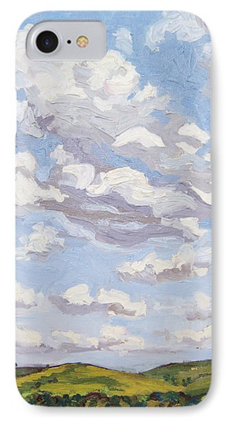 IPhone Case featuring the painting Cumulus Clouds Over Flint Hills by Erin Fickert-Rowland