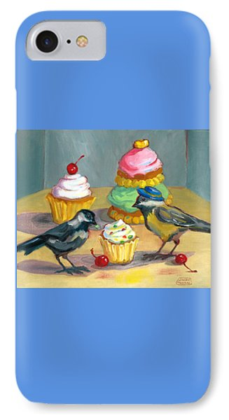 IPhone Case featuring the painting Cupcakes And Chickadees by Susan Thomas