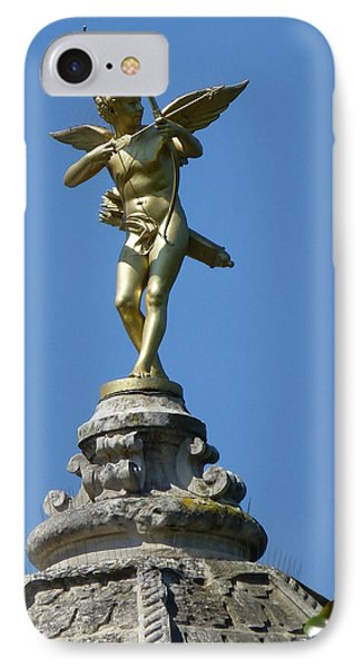 IPhone Case featuring the photograph Cupid On Le Pavillon-elysee In Paris by Susan Alvaro