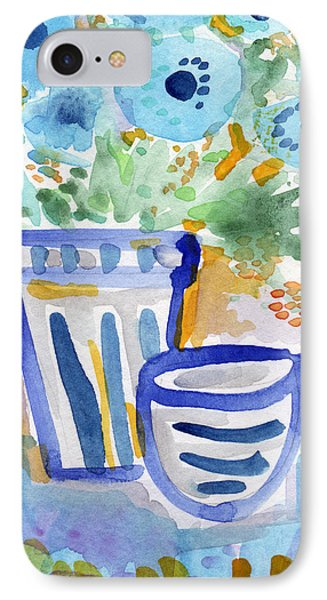 Cups And Flowers-  Watercolor Floral Painting IPhone Case by Linda Woods