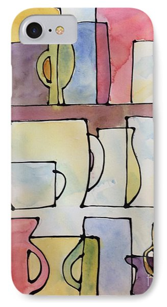 Cups On The Shelf IPhone Case by Barbara Tibbets